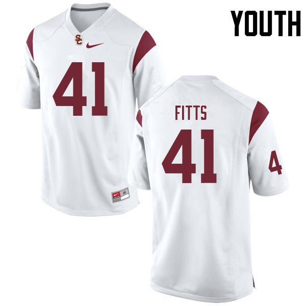 Youth #41 Thomas Fitts USC Trojans College Football Jerseys Sale-White